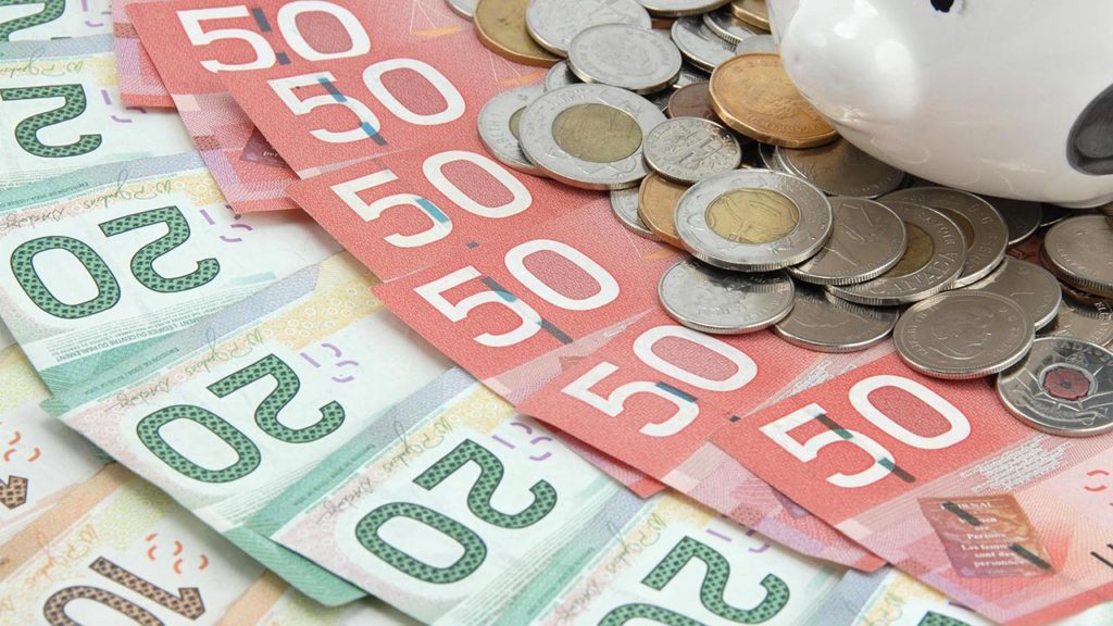 various Canadian bank notes and coins